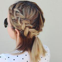 Short hair dutch braids