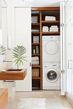 "Awesome ""laundry room storage small shelves"" information is readily available on our website. Read more and you wont be sorry you did. Bathroom Interior, Laundry Cupboard, Laundry In Bathroom, Bathroom Interior Design, Modern Laundry Rooms, Room Design"