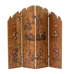 Continental Style Four-Panel Painted Screen, NATASHA