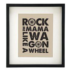 Wagon Wheel Art Print  8x10  Rock Me Mama Like a Wagon by n2design, $16.00