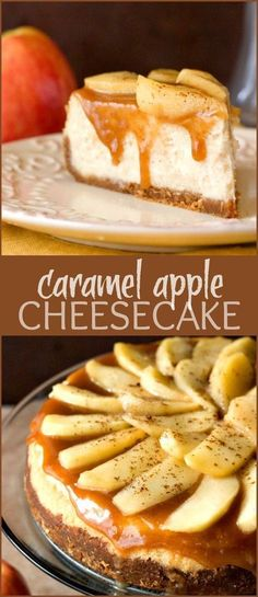 Caramel Apple Cheesecake  decadent and indulgent cheesecake with caramel apple topping. Rich and creamy and absolutely amazing!