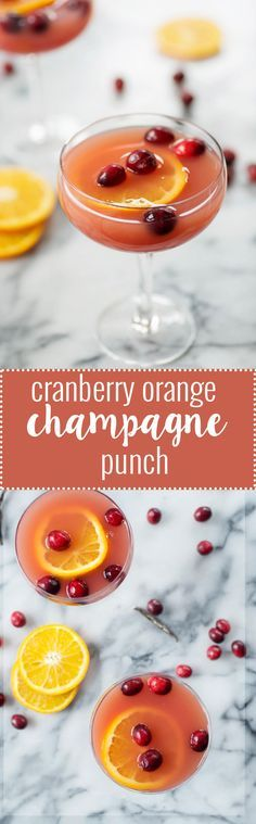 Orange Champagne Punch! The gorgeous punch is a must for your holiday table. Refreshing, sparkling and festive!