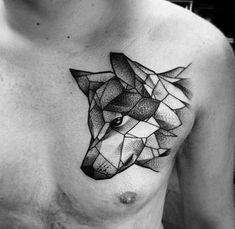 Abstract Wolf Head Tattoo On Chest For Men