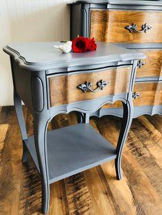 SoldFrench provincial dresser and nightstand mirror Upscale Furniture, Refurbished Furniture, Paint Furniture, Repurposed Furniture, Furniture Projects, Furniture Makeover, Refinished Nightstand, Redoing Furniture, Refurbished End Tables