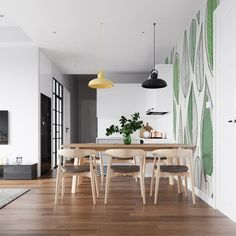 Quick makeovers with self-adhesive wallpaper, plants and murals – Nina's Apartment Special Wallpaper, New Wallpaper, Peel And Stick Wallpaper, Wallpaper Plants, Nursery Wallpaper, Dining Room Walls, High Quality Wallpapers, Traditional Wallpaper, Self Adhesive Wallpaper