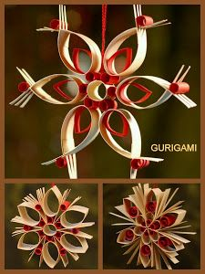 handmade Christmas ornament ... type of quilling ... red and white ornaments ... kits available but not coming from USA ...