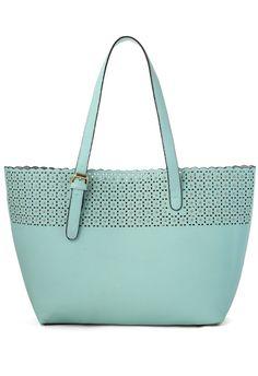 Scrolled Cutout Twinset Handbag in Pastel Blue