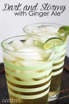 This dark and stormy with ginger ale recipe is not only light and delicious it is also the perfect evening drink after a long day. Try this recipe today! (mixed drinks with rum ginger beer) Alcoholic Drinks With Ginger Ale, Ginger Ale Cocktail, Ginger Ale Mixed Drinks, Bourbon Drinks, Refreshing Drinks, Summer Drinks, Fun Drinks, Ginger Ale Recipe, Ginger Beer