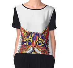 'Peekaboo Cat' by jaggerstudios Cat Lover Gifts, Cat Gifts, Cat Lovers, Funky Outfits, Cartoon T Shirts, Cat Drawing, Chiffon, Handmade Items, Cats