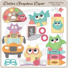 Back to School Owls 1 Clip Art, by Trina Clark - $1.00 - Great for printable crafts, scrapbook pages, greeting cards, bulletin boards, arts & crafts projects, school supplies labels, magnets for art projects, and lots more! www.DollarGraphicsDepot.com