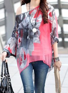 $7.94 Sophisticated Floral Print Loose-Fitting 3/4 Sleeves Blouse For Women