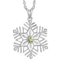 Birthstone and Diamond Snowflake Pendant - August - The Danbury Mint