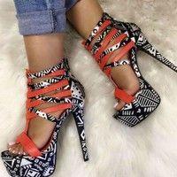 Wish | Women Casual Sexy High Heel Stiletto Sandals Platform Peep Toe Geometric Print Multi Black Strappy Heels Female Ladies Shoes