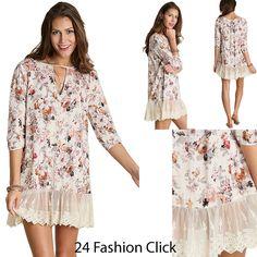 Umgee USA 3/4 Sleeve Women's Key Hole Dress Floral Print Lace Trim Hem Ivory #UmgeeUSA #Tunic #Casual