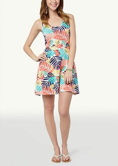 image of Printed Tank Skater Dress