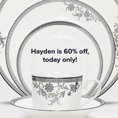 Limited items remain in Hayden - and they are all 60% off today! The discount is applied automatically in the cart. This offer cannot be combined with other offers or applied to past orders. Rainchecks are not available. Happy shopping! http://noritakechina.com/hayden.html