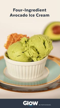 This four-ingredient vegan avocado ice cream recipe is a total game changer!  Dairy free and delicious.  Recipe from Elephantastic Vegan: http://www.elephantasticvegan.com/