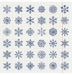 Winter snow flakes doodles vector by olia_fedorovsky on VectorStock®
