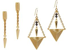 Gold plated geometric studs and spikes created from bombshells in Cambodia.