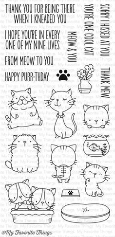 My Favorite Things - Clear Stamp - BB Cool Cats-Looking for the coolest collection of kitties out there? We've got them right here for you in the Cool Cat stamp set. These furry cuties will meow their way into your projects from their whiskers to the Doodle Drawings, Doodle Art, Bullet Journal Décoration, Images Kawaii, Sketch Note, Doodles, Mft Stamps, Digital Stamps, Clear Stamps