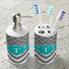 Gray and Teal Quatrefoil Chevron Monogram Bath Set #Bathroom #Set
