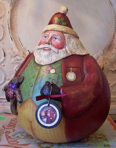 Folk art santa gourd w paper clay