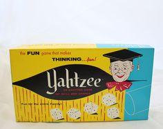 Vintage Yahtzee Game, Vintage Board Game, Yahtzee, Classic Board Game,1950s Board Game. $18.00, via Etsy.