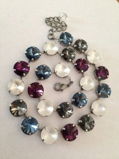 12mm+Swarovski+crystal+necklace++purple++blue++white++by+MISWINGS,+$75.00