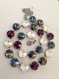 12mm+Swarovski+crystal+necklace++purple++blue++white++by+MISWINGS,+$75.00