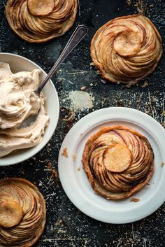 Hot Apple Tart with Vanilla Ice Cream from the cookbook Micheal Caines At Home. These pretty French-inspired tarts make the perfect dessert for a dinner party or after a Sunday roast. Serve with ice cream or clotted cream! Tart Recipes, Apple Recipes, Sweet Recipes, Dessert Recipes, Cooking Recipes, Uk Recipes, Just Desserts, Delicious Desserts, Yummy Food