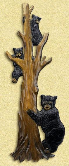 Bear Family in Tree Hand-Carved Wooden Wallhanging