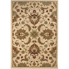 allen   roth�Hexham Rectangular Cream Floral Woven Area Rug (Common: 5-ft x 8-ft; Actual: 5.25-ft x 7.5-ft)