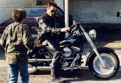 Arnold Schwarzenegger as The Terminator with Edward Furlong as John Connor in #Terminator 2 Judgment Day (1991).