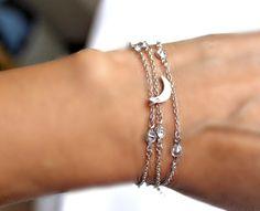Crescent Moon Necklace or Wrapped Bracelet Versatile by meltemsem
