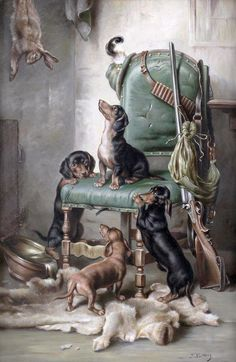 Dachshund Puppies J. Carl Reichert - After the hunt, oil on panel, x cm. Dachshund Breed, Dachshund Art, Daschund, Vintage Dachshund, Vintage Dog, Hunting Art, Hunting Dogs, Clever Dog, Most Popular Dog Breeds