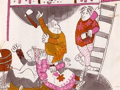 In the shop.... The Three Sillies: A Folk Tale illustrated by Margot Zemach (1963).