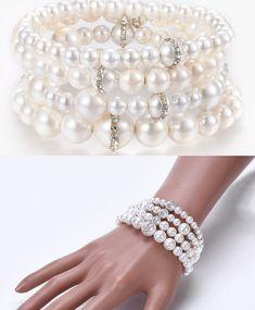 Femme plaqué or vintage perle cristal argent Stretch Wrap Tennis Bracelet