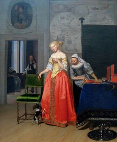 Lady with Servant and Dog by Jacob Ochtervelt, c. 1671-1673