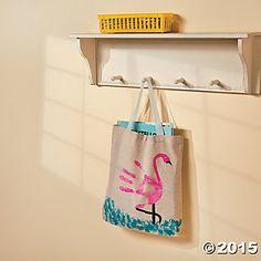 DIY Flamingo Handprint Tote Bag Idea