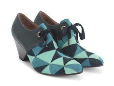 Fluevog Shoes | Shop | Scheme (Blue) | Angular Suede Bootie