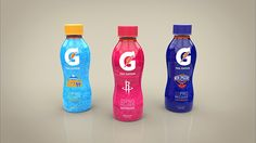 """""""This project was about making packaging of 3 varieties of a drink or food. I chose to make about Gatorade, and for the special edition i opted for NBA (National Basketball Association) because that's the league's official drink. So i decided to make 3 bottles of Gatorade of different teams.""""     Designed by Ismael Branco, Portugal."""