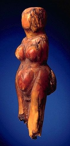 Venus  --  Brown Ivory  --  Circa 27,000-20,000 BCE  --  Discovered in the caves of Balzi Rossi, on the border between Liguria   A nearly-complete female figurine made from partially fossilised ivory, measuring about 7 cm (2.63 inches) high.