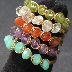 Wire wrapped gemstone stacking rings tutorial — Jewelry Tutorial Headquarters