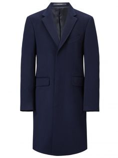 A truly iconic menswear essential and synonymous with the traditional men's overcoat, the classic Crombie coat is produced in a luxurious wool and cashmere mix and available in a timeless navy. The single-breasted, fly-fronted coat is simple yet sophisticated enough for both day and evening wear.