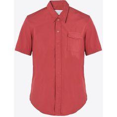 Maison Margiela 10 Short Sleeve Shirt (€265) ❤ liked on Polyvore featuring men's fashion, men's clothing, men's shirts, men's casual shirts, red, mens short sleeve snap button shirts, mens snap button shirts, mens faux leather shirt, mens pearl snap shirts and mens casual short sleeve shirts