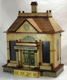 Antique Rare Bliss Dollhouse c1915. I like the shape and the colors. .....Rick Maccione-Dollhouse Builder www.dollhousemansions.com