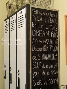 DIY Locker Makeover, love the chalkboard on the side!! xD