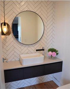 52 Ideas Bath Room Tiles Herringbone Round Mirrors For 2019 Laundry In Bathroom, Bathroom Renos, Bathroom Interior, Modern Bathroom, Small Bathroom, Master Bathroom, Bathroom Ideas, Bathroom Mirrors, Bathroom Pink
