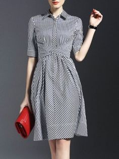 Black Striped Collared Bow Shirt Dress -