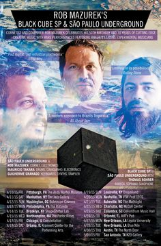 Cornetist and composer Rob Mazurek to lead his Brazilian/American ensembles, São Paulo Underground and Black Cube SP, on a rare US tour in April 2015 performing 'Return the Tides' record release shows from New York to Texas! Full Tour Details: http://cuneiformrecord.blogspot.com/2015/04/rob-mazurek-spu-black-cube-sp-return-the-tides-tour.html Poster Art Work: Damon Locks | Photo: Jason Marck